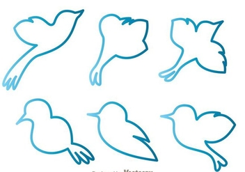 Blue Bird Outline Vectors - vector gratuit #200573