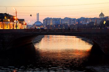 Bridge over river at sunset, Moscow - image #200673 gratis