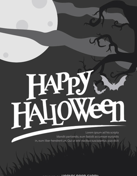 Halloween Retro Balck and white poster - vector gratuit #200923
