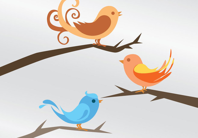 Three Bird Vectors - Free vector #201253