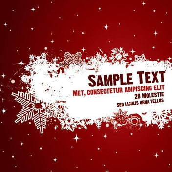 Red Poster Splashed Snowflakes - vector gratuit #201403