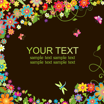 Neon Floral Background - vector gratuit #201843