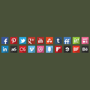 20 Free Vector Flat Shadow Social Icons - vector #201903 gratis