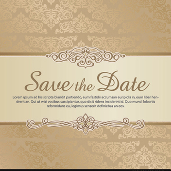Damask Save the Date Vector Template - Free vector #201913
