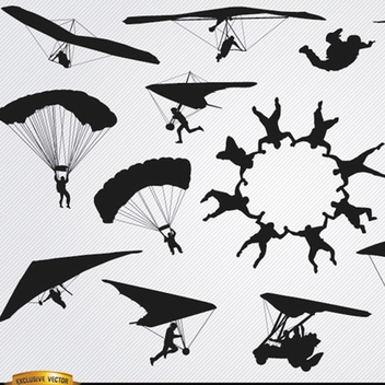Free Vector Parachutes and Skydiving Silhouette Pack - vector gratuit #201933