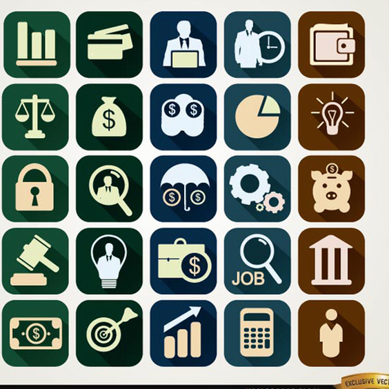 Free Vector Square Financial Icons - vector gratuit #201983