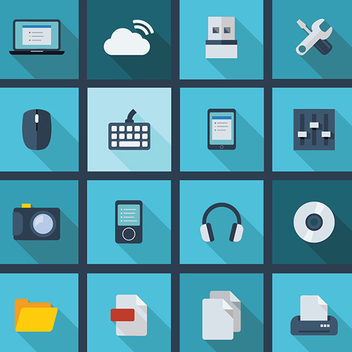 Free Vector Long Shadow Business and Technology Icons 2014 - Kostenloses vector #202253