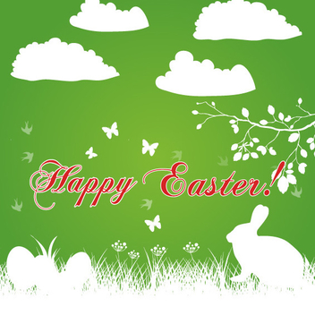 Happy Easter Bunny Background Vector - Free vector #202273