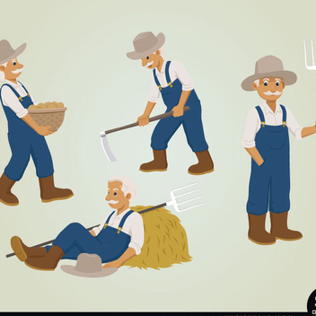 Free Vector Farmer Character Set - Free vector #202403