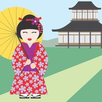 Japanese Girl - vector gratuit #202753