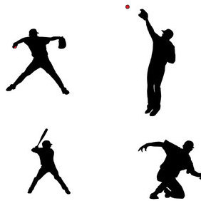 Baseball Players Silhouettes - бесплатный vector #202883