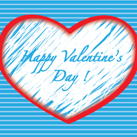 Happy Valentines Day Red Line Heart - vector gratuit #202933