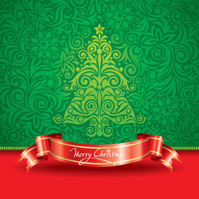 Free Vector Christmas Tree with Red Ribbon - vector gratuit #202973