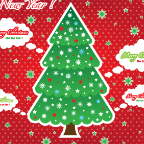 Christmas Tree Red Card Graphic - Free vector #203003