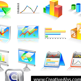 Business Chart Icons - vector gratuit #203033