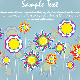 Flowers Card Brush Design - Free vector #203123
