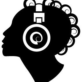 Woman Silhouette With Headphones - vector gratuit #203583