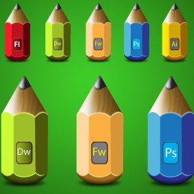 Adobe Pencils Icon Set - Free vector #203643