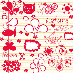 Doodle Nature Elements 1 - Free vector #203953