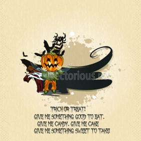 Vector Halloween Background With Pumpkin - vector gratuit #204033