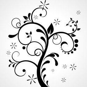 Floral Ornament On Grey - vector gratuit #204343