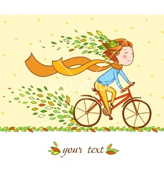 Free girl on bike autumn background vector - vector gratuit #205423