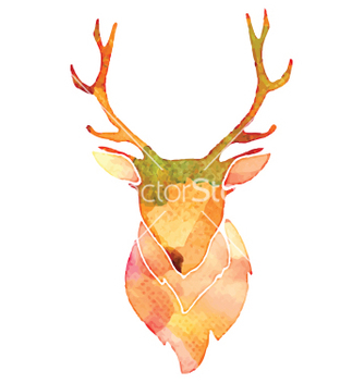 Free watercolor deer head vector - Free vector #205433