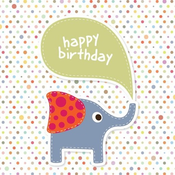 Elephant Birthday Card - vector gratuit #205453