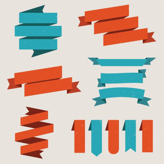 Set Of Vector Ribbons - vector gratuit #205463