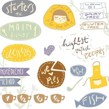 Recipe Stickers 2 - vector #205893 gratis