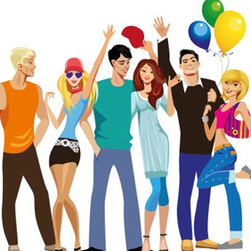 Young People Group - vector gratuit #206173