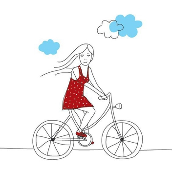Girl On Bicycle - vector gratuit #206503