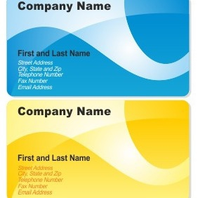 Blue And Yellow Business Cards - Free vector #206573