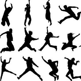 Jumping Silhouettes Set - бесплатный vector #206713