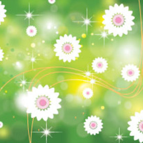 White Pinked Flower In Green Background - vector #207333 gratis