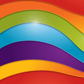 Wavy Rainbow Background - vector gratuit #207363