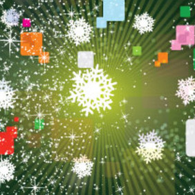 White Stars In Green Background Design - vector gratuit #207523