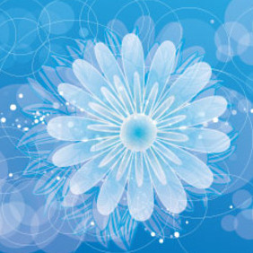 Blue Background With Circles And Flowers - Free vector #208043