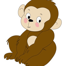 Monkey Cartoon Character- Free Vector. - Free vector #208633