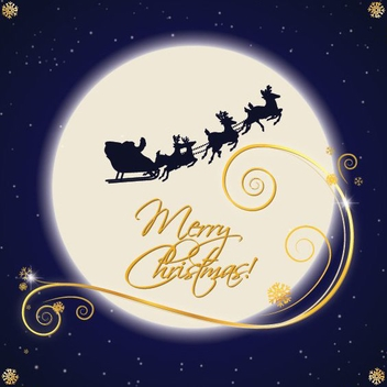 Santa Sleigh Moonlight - Free vector #208783