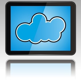 Cloud On Tablet PC - vector gratuit #208943