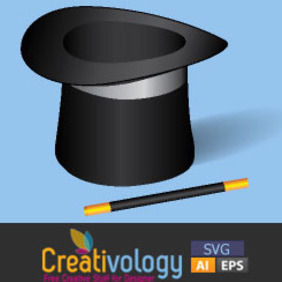 Free Vector Magic Hat And Wand - Free vector #209003
