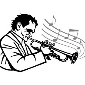 Man Playing Trumpet Vector - Free vector #209033