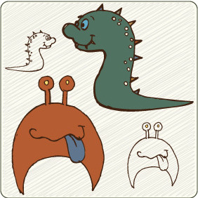 Cute Monsters 6 - vector gratuit #209293