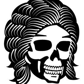 Skull With Cool Hair Vector - Free vector #209403