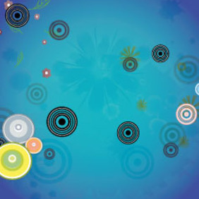 Retro Black Circles In Blue Background - vector gratuit #209713
