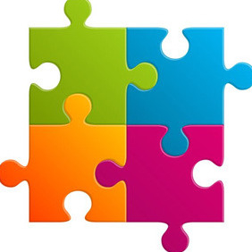 Colourful Puzzle Parts - vector gratuit #209723