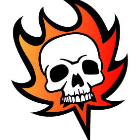 Skull On Fire Vector - vector gratuit #209783