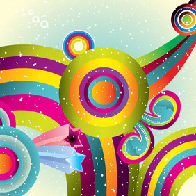 Colored Retro World Free Art Design - vector gratuit #209853