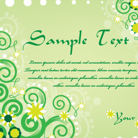 Green Swirls Card Design - vector gratuit #210533